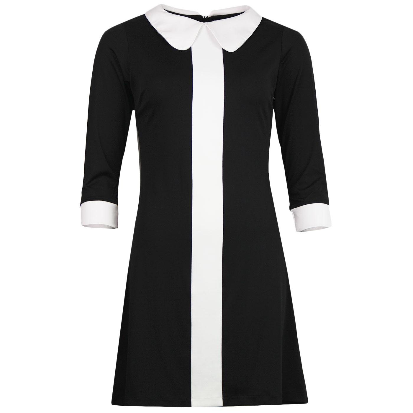 Madcap England 1960s Mod Stripe Panel Collar Dress in Black and White