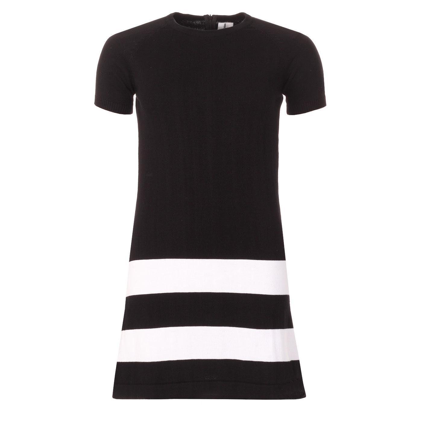 Madcap England 60s Mod Hoop Hem Knitted Dress in Black/White