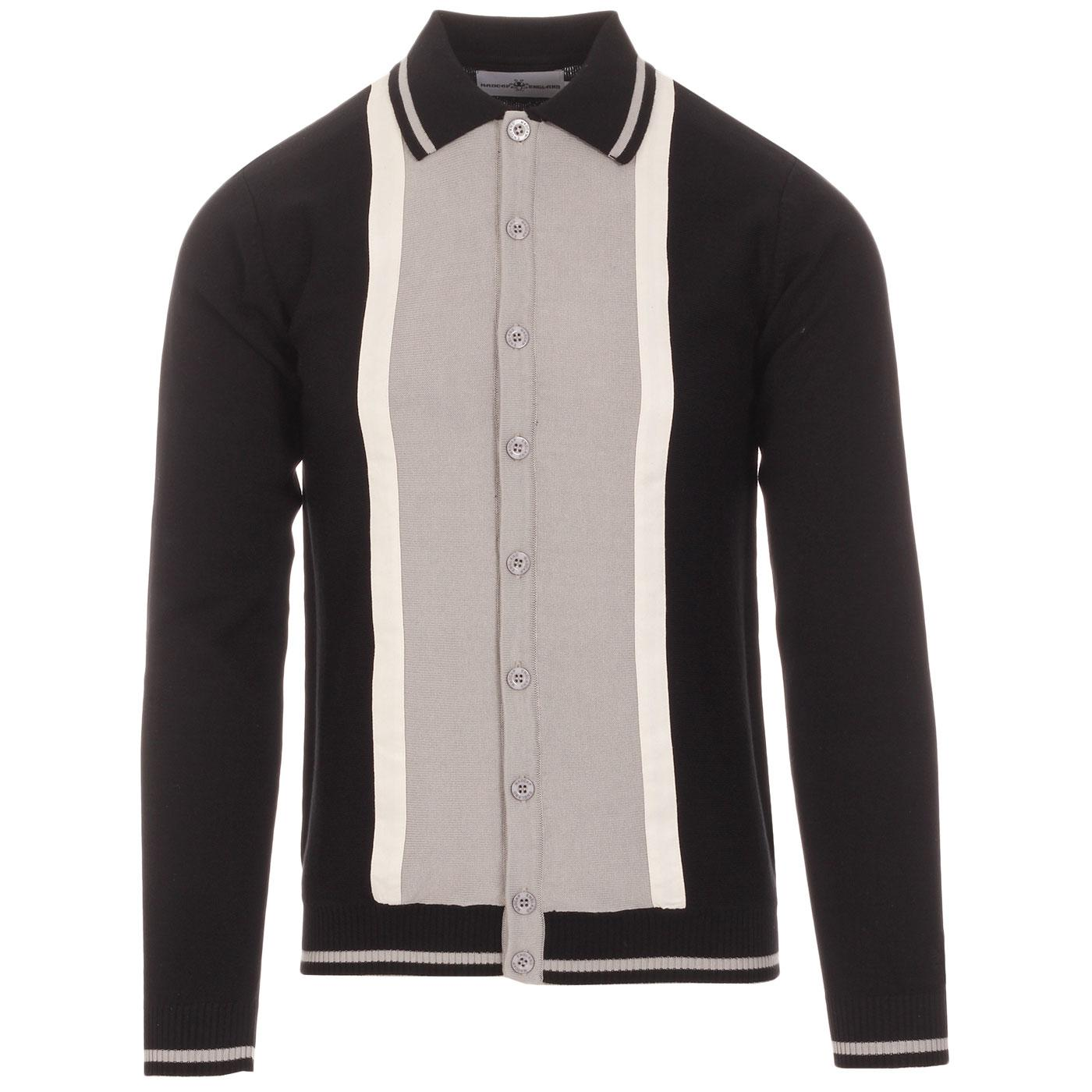 Madcap England Mono Marriott Suede 1960s Mod Knitted Button Through Polo Shirt in Black and Drizzle Grey