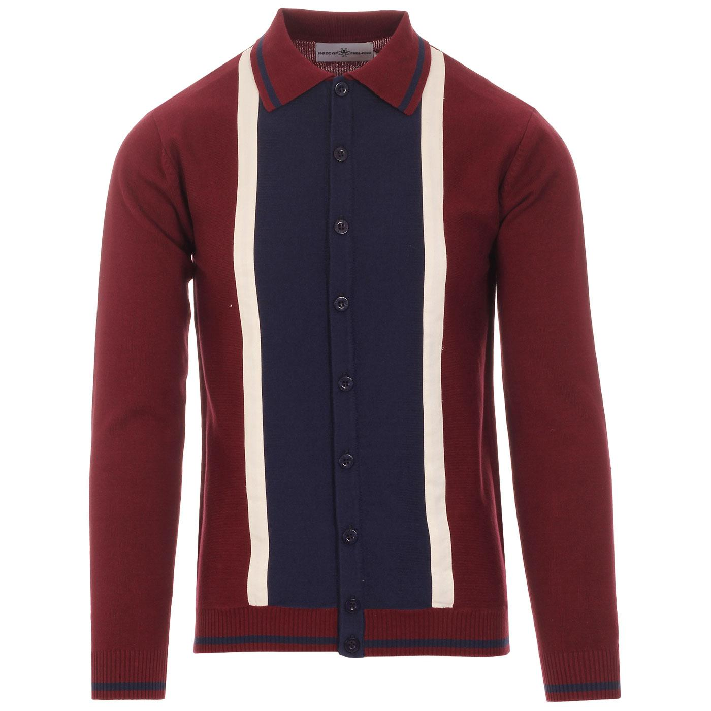 Madcap England Marriott Suede 1960s Mod Knitted Button Through Polo Shirt in Zinfandel