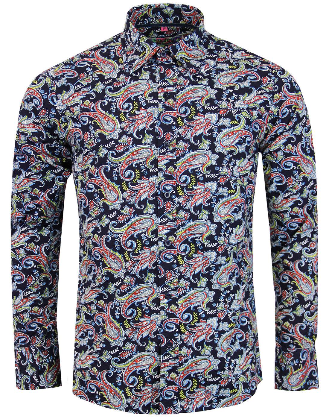 madcap england tabla paisley 1960s mod shirt navy