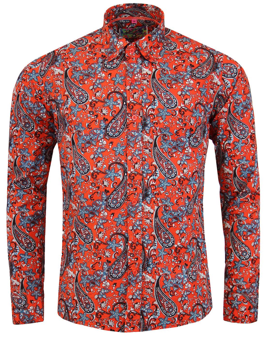 madcap england tabla paisley retro mod shirt red