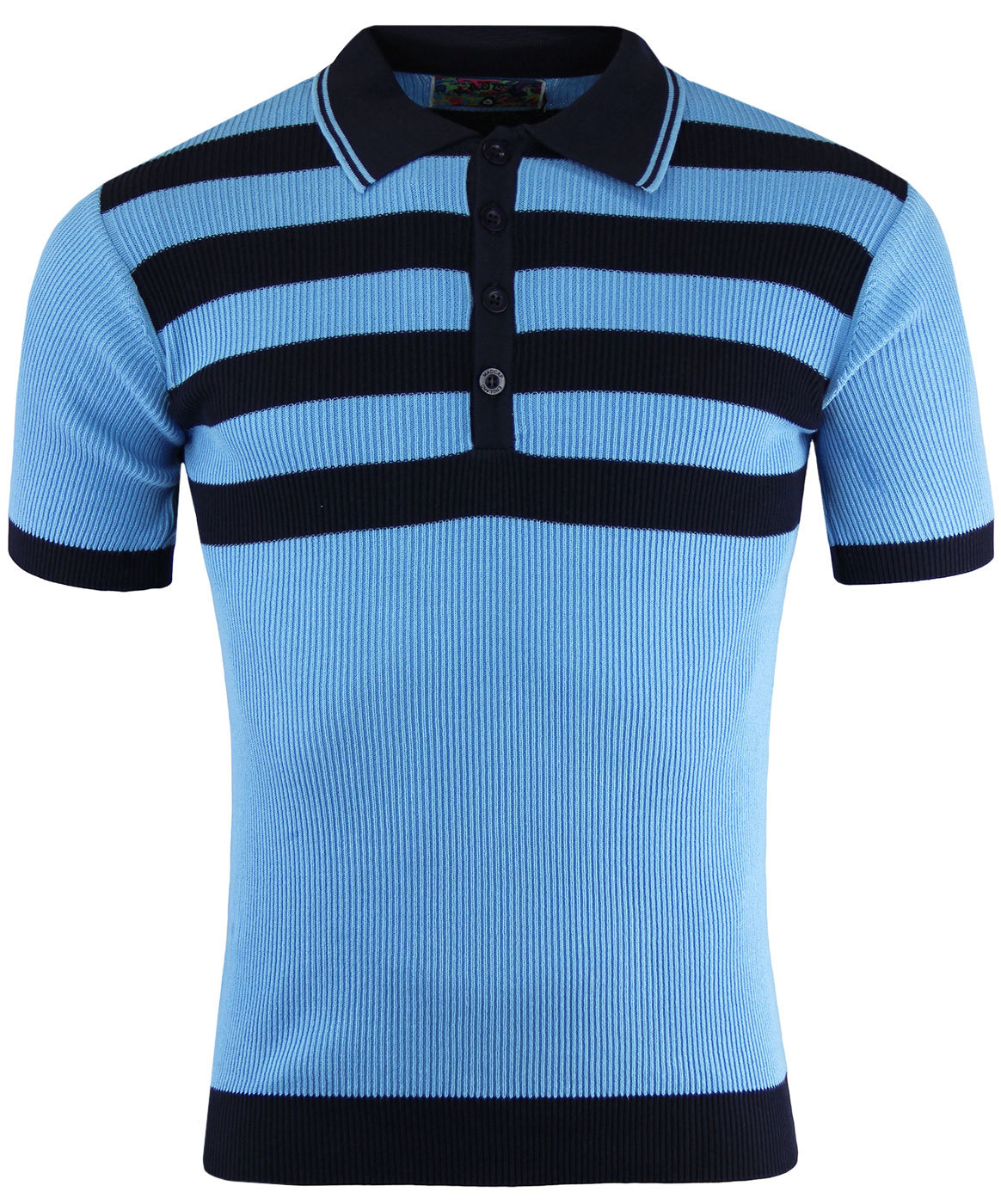 Terry Retro 1960s Mod Ribbed Polo Shirt with Chest Stripes ...