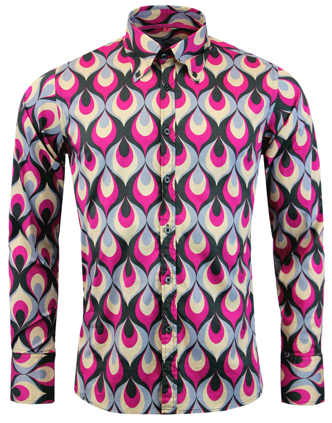 madcap england trip flames 60s mod geo print shirt