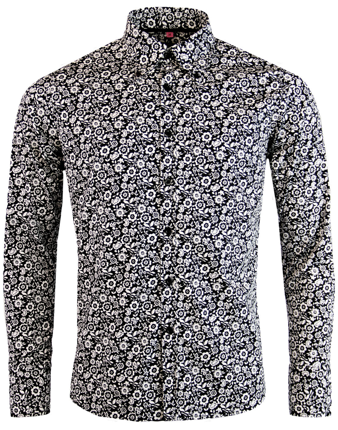 Trip Floral Men 39 S 1960s Mod Monotone Floral Retro Button