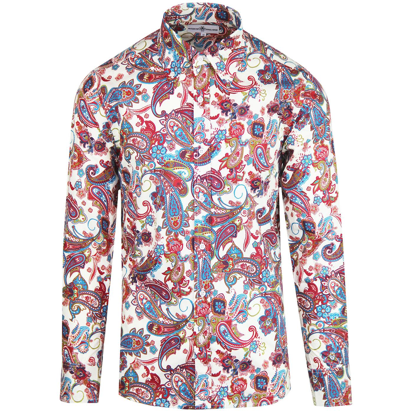 Madcap England Trip 1960s Mod Button Down Paisley Shirt in Red/Ecru.