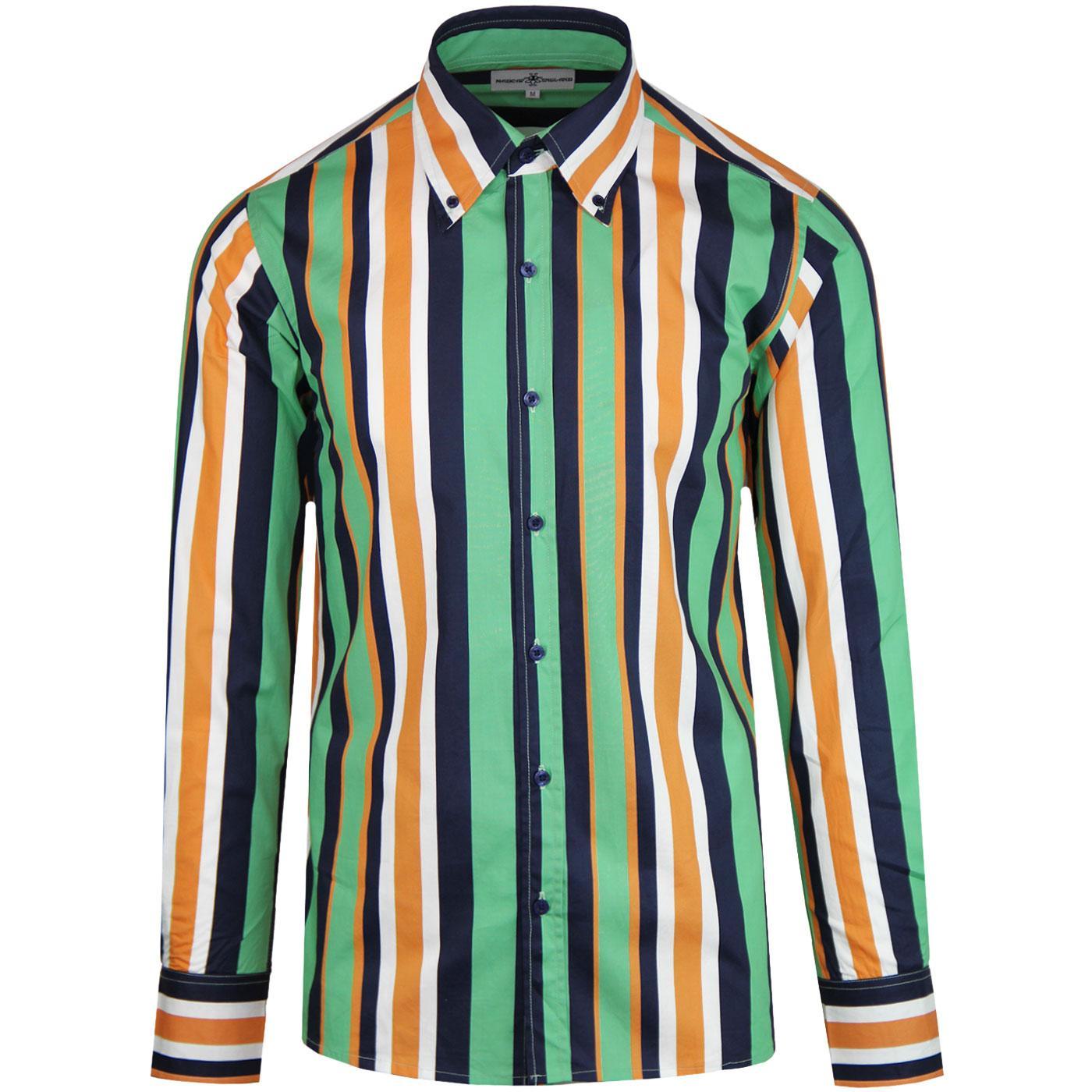 Madcap England Trip Retro 60s Mod Stripe Button Down Shirt in Green
