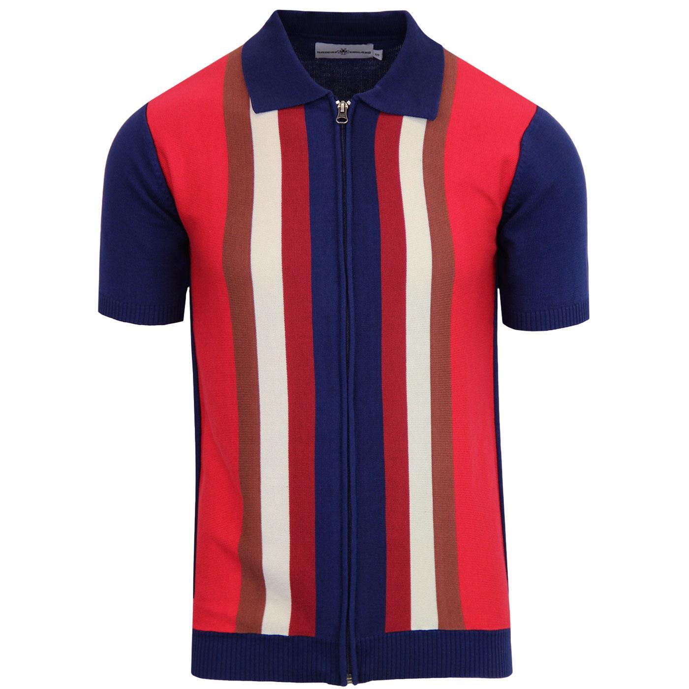 Victor MADCAP ENGLAND 60s Mod Stripe Zip Polo BLUE
