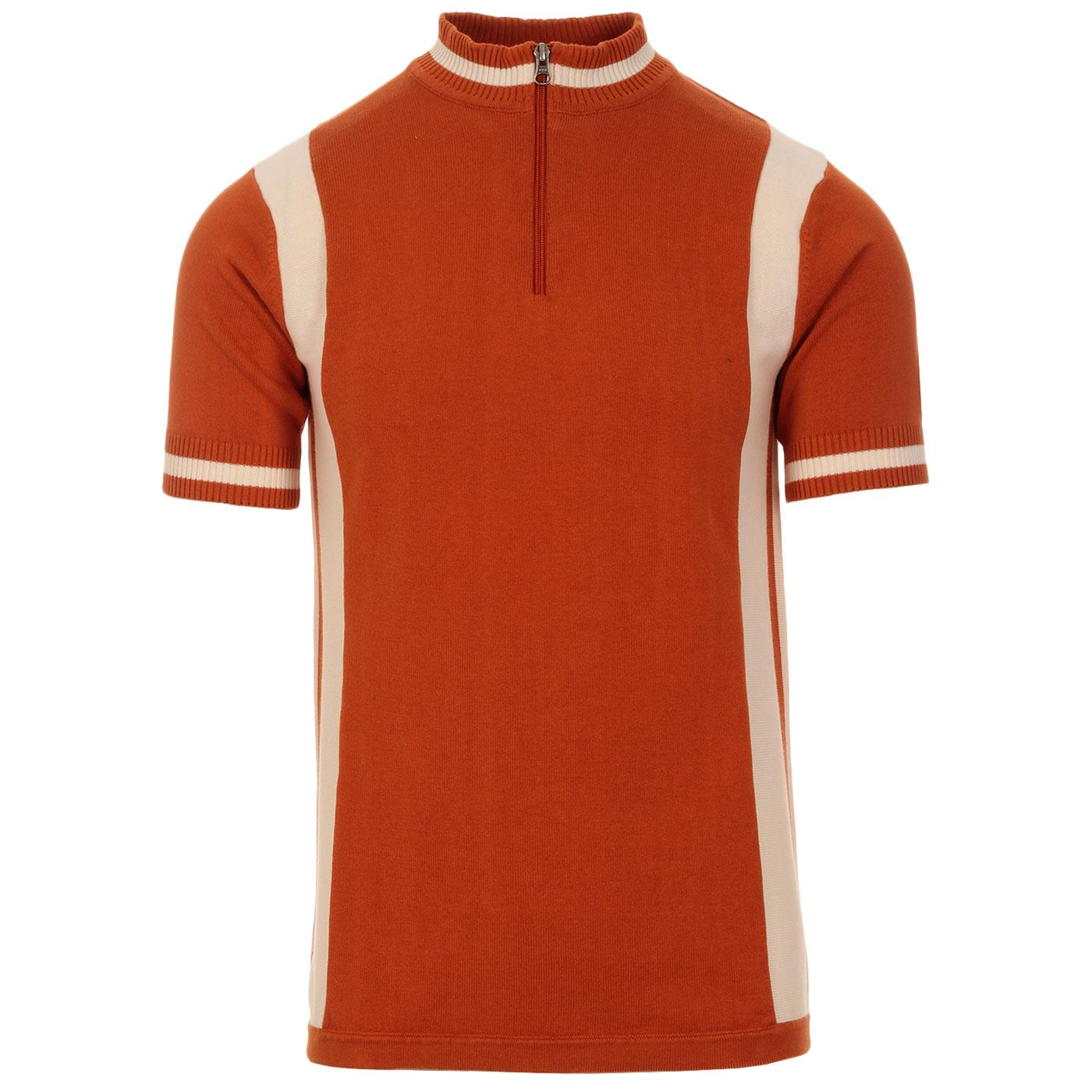 Madcap England Vitesse Retro Mod Knitted Zip Neck Cycling Top in Rust