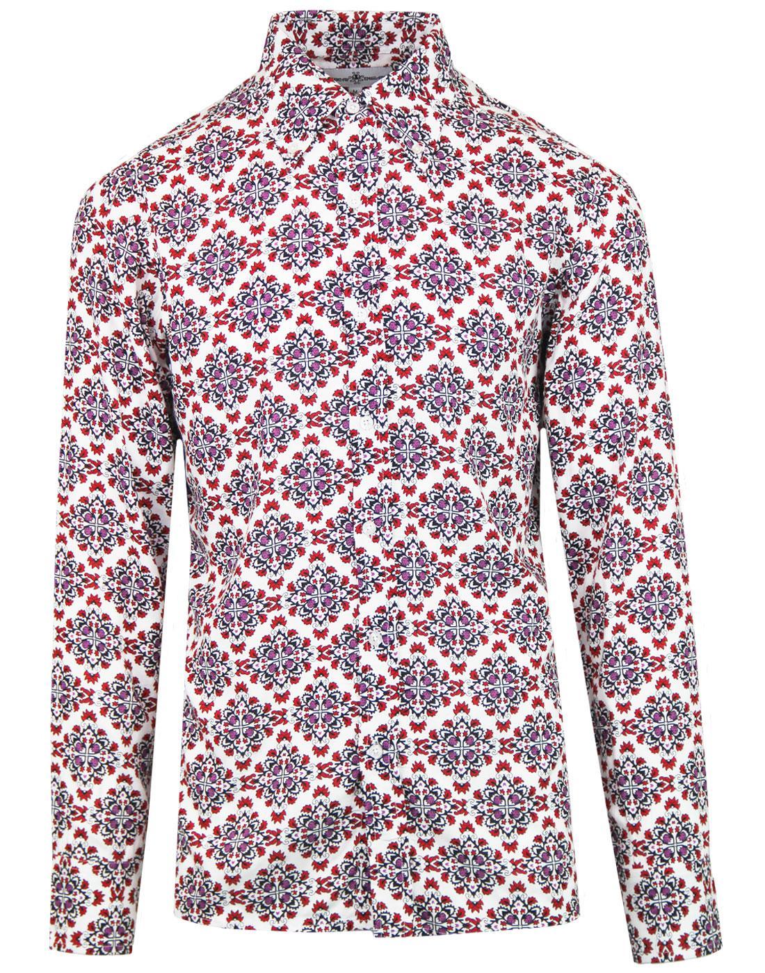 madcap england wallflower retro floral rayon shirt