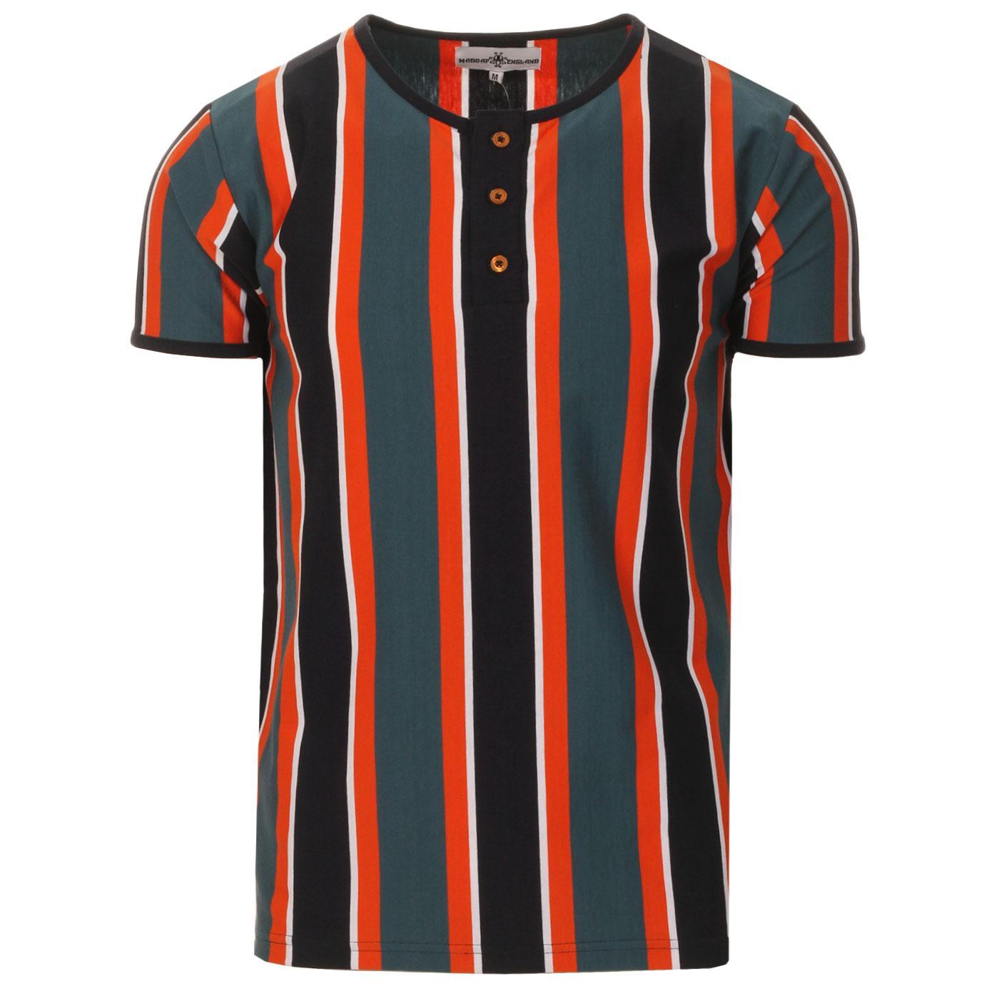 Madcap England Winstono Men's Retro 60s Stripe Grandad T-shirt in Tapestry