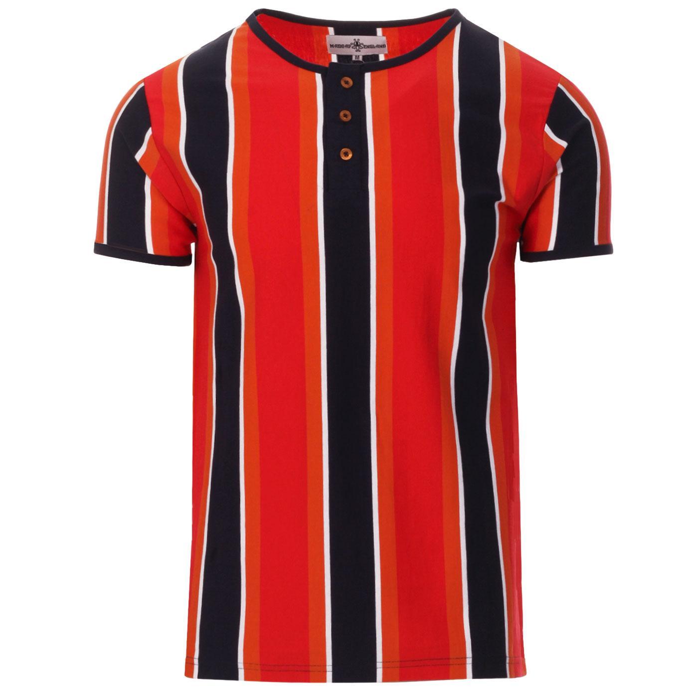 Madcap England Winstono Men's 60s Mod Stripe Grandad T-shirt in Poppy
