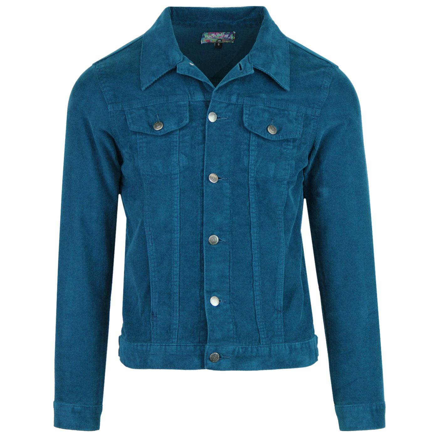 Madcap England Woburn Retro Mod Cord Western Jacket in Ink Blue