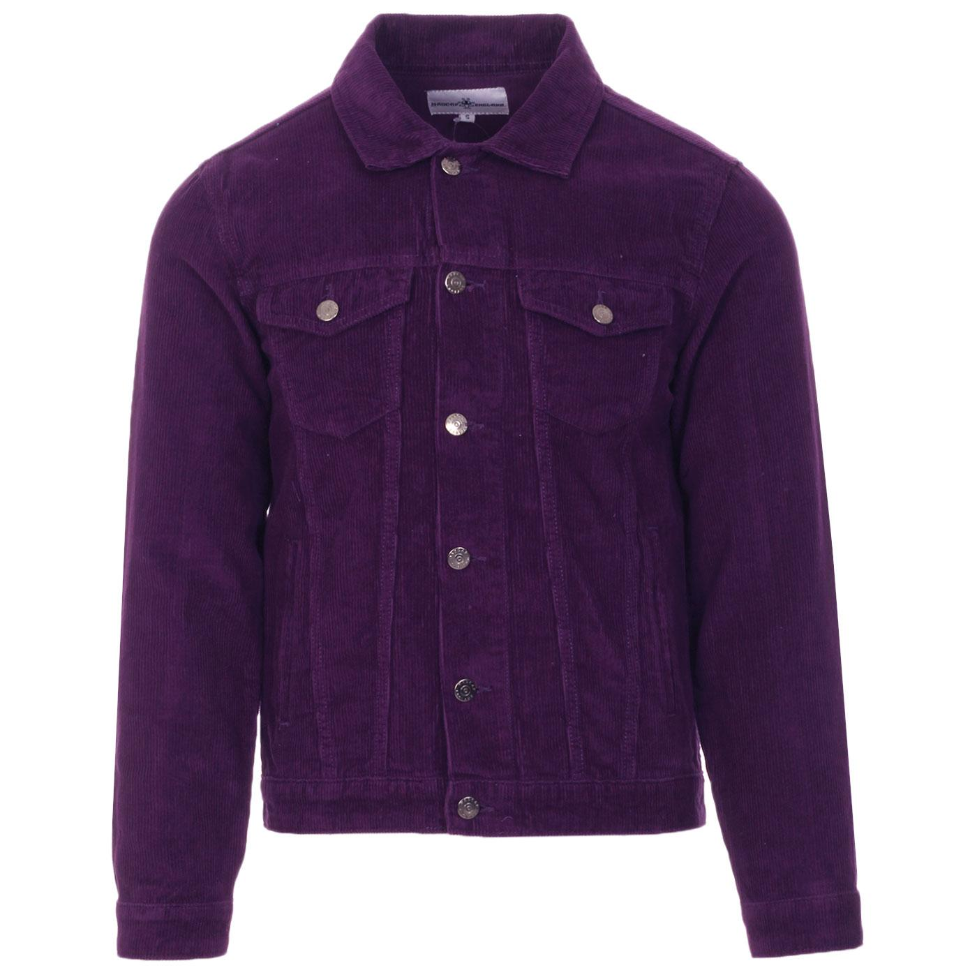 Madcap England Woburn Retro Mod Cord Western Trucker jacket in Imperial Purple