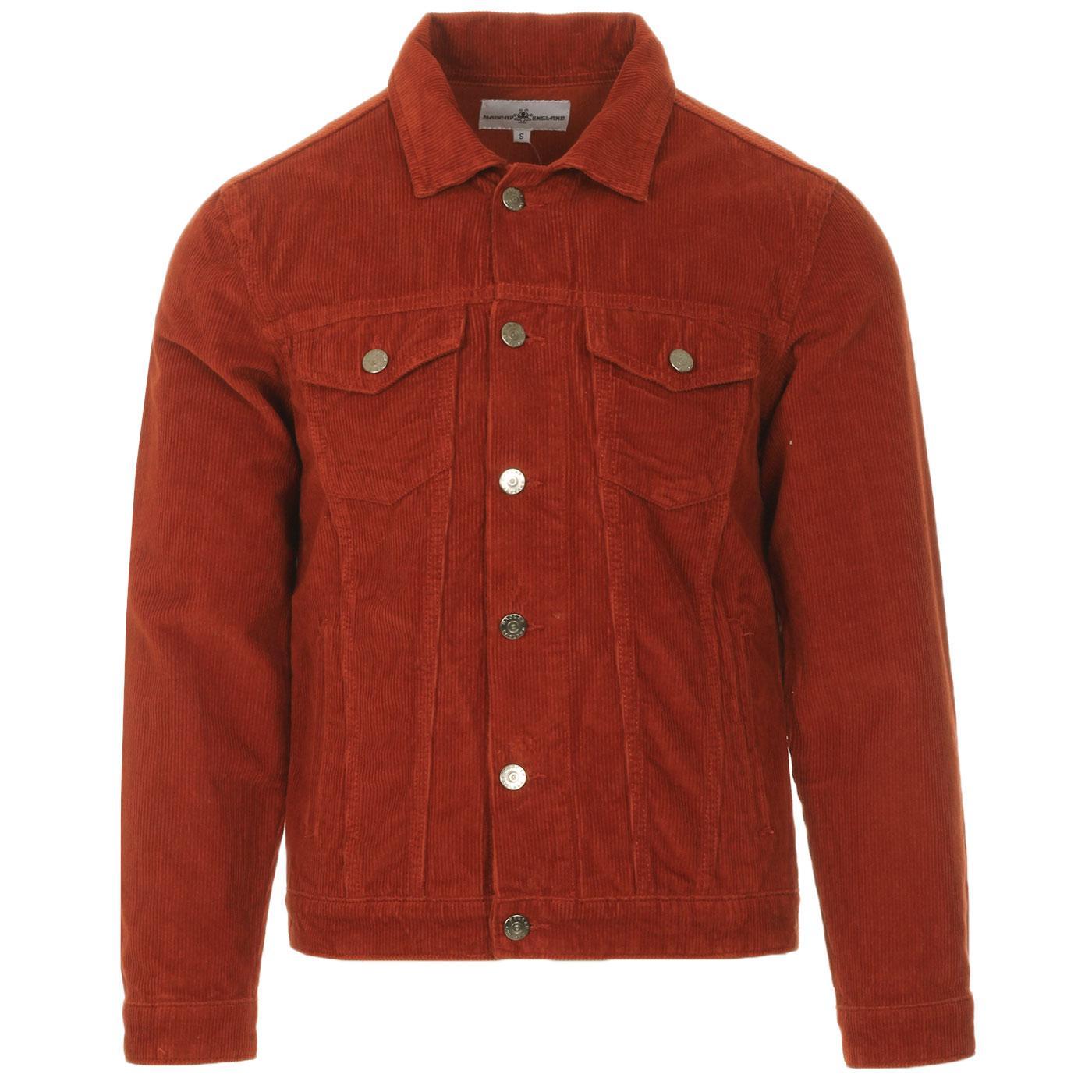 Madcap England Woburn Retro Mod Cord Western Trucker jacket in Rust