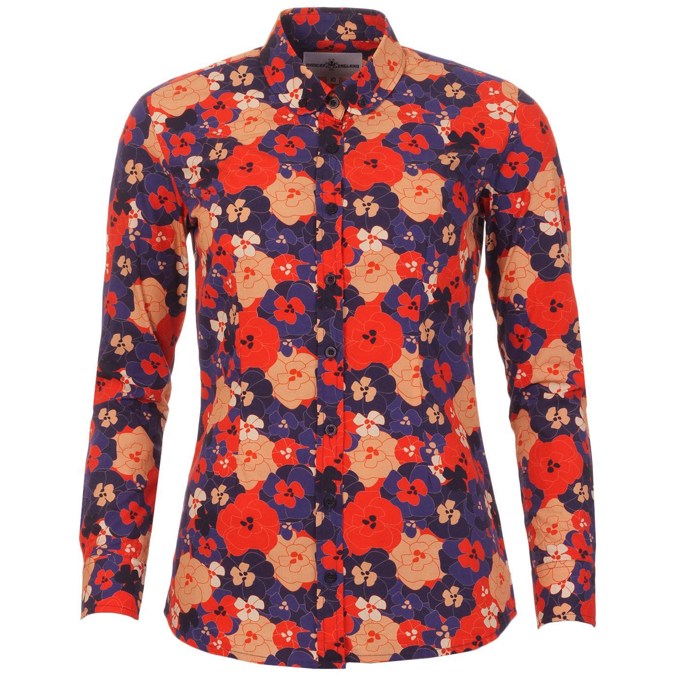 Madcap England Women's Retro 60s Mod Big Floral Print Shirt