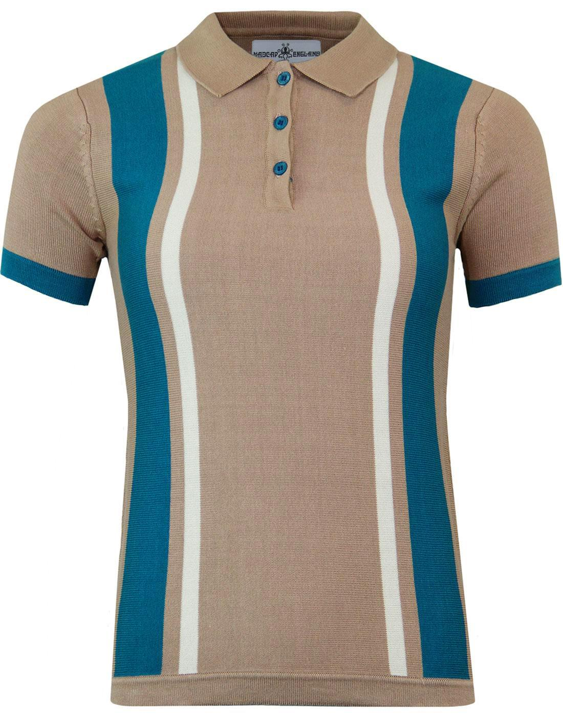 madcap england womens stripe knit mod polo almond