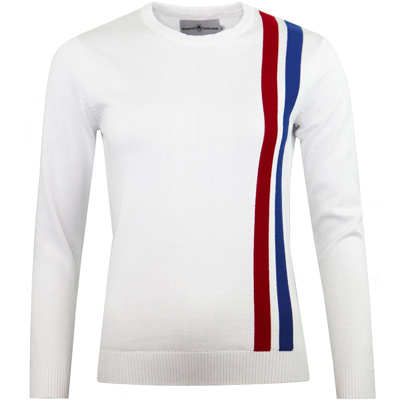 Madcap England Women's Retro Mod Racing Jumper in White