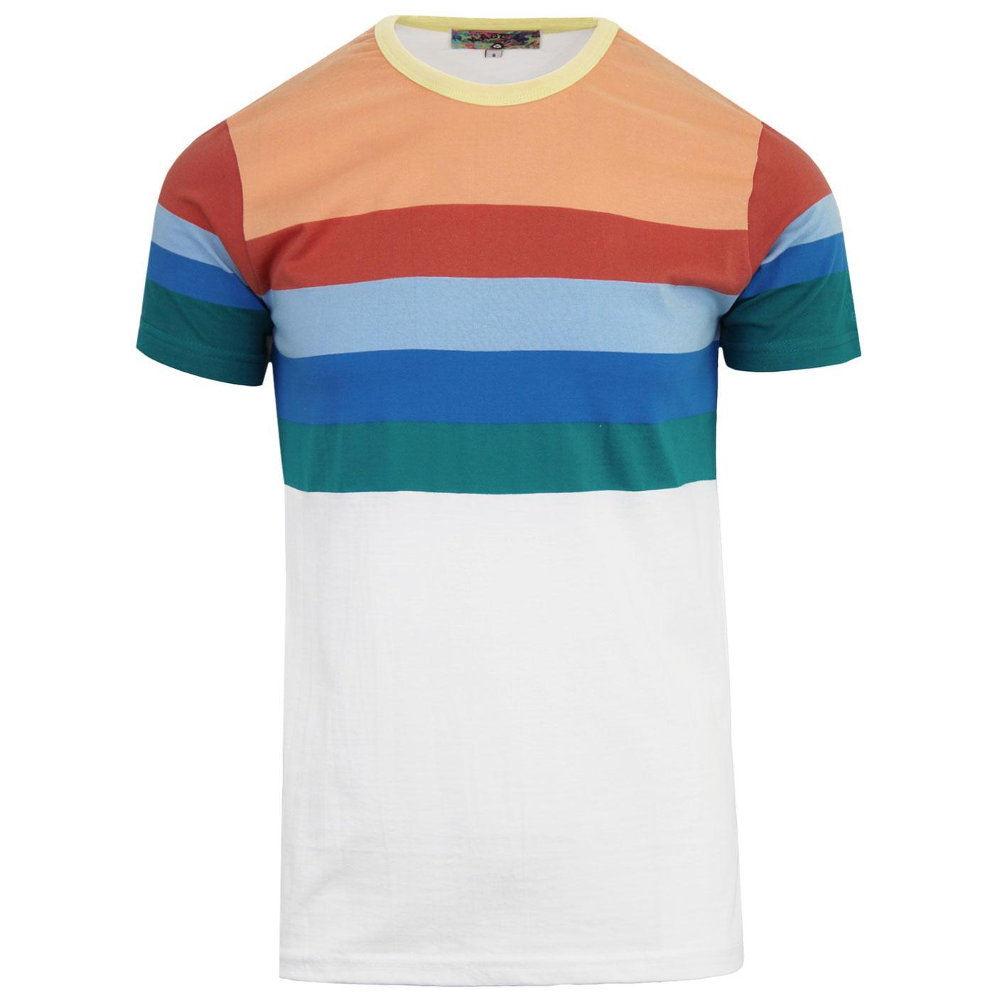 Zippo MADCAP ENGLAND Retro 70s Rainbow Stripe Tee