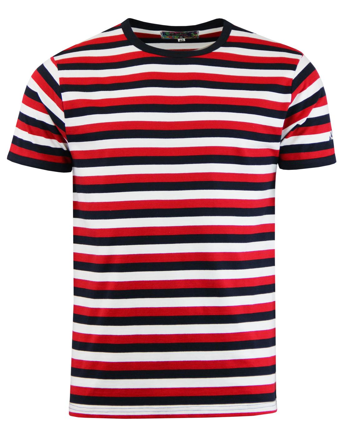 madcap feeder stripe t-shirt white navy red mod
