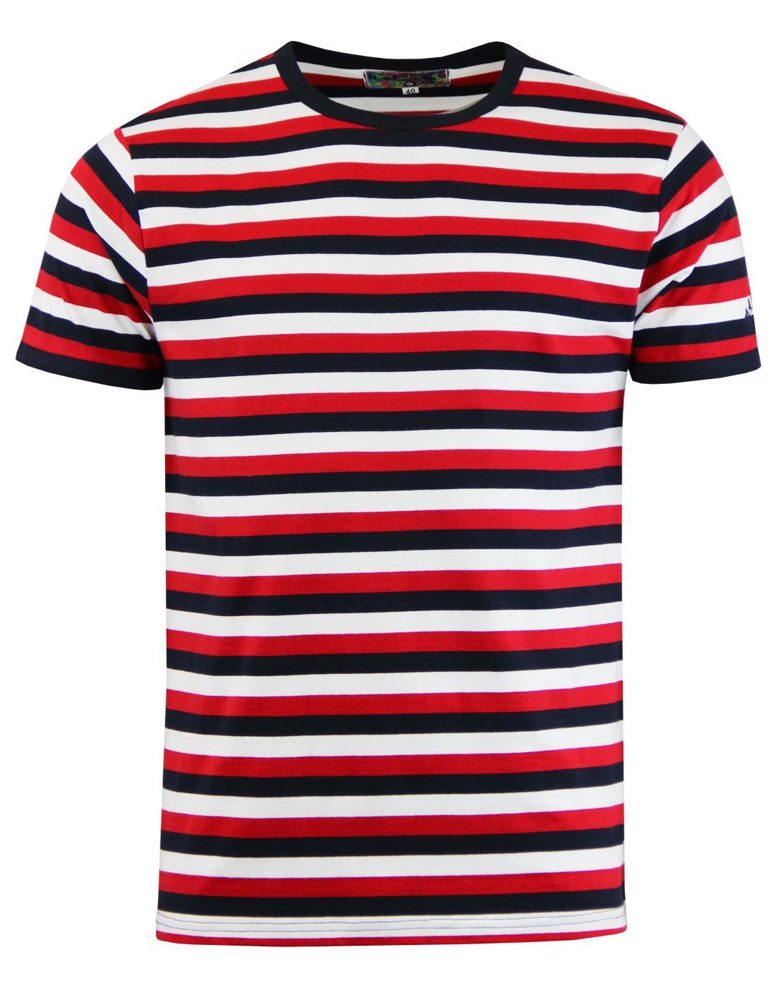 58176f97c07ab Bande - Mens Retro Mod Tri-Stripe Short Sleeve T-Shirt