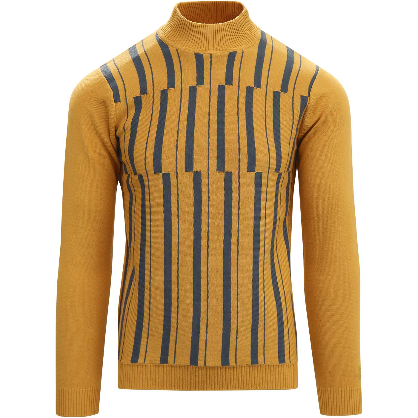 madcap england mens mod retro vertical stripes funnel neck jumper spruce yellow