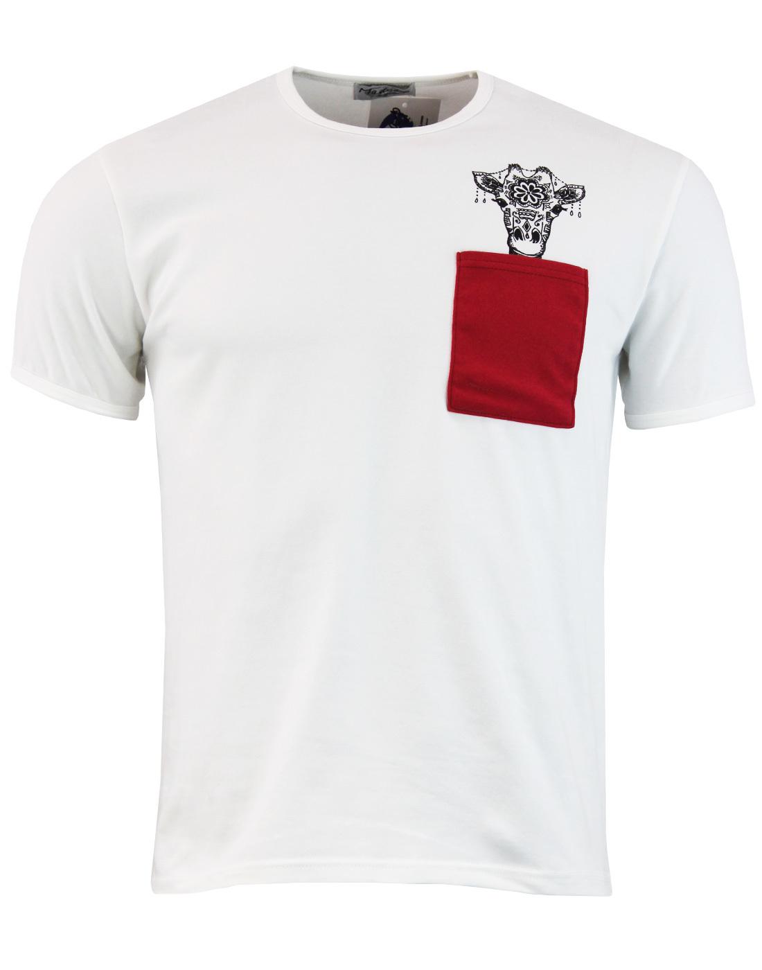 madcap giraffe pocket t shirt white mod