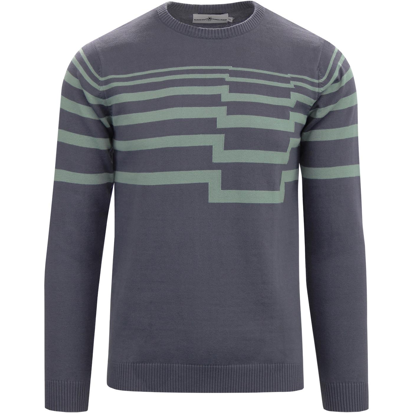 madcap england mens horizontal stripes crew neck jumper ombre blue