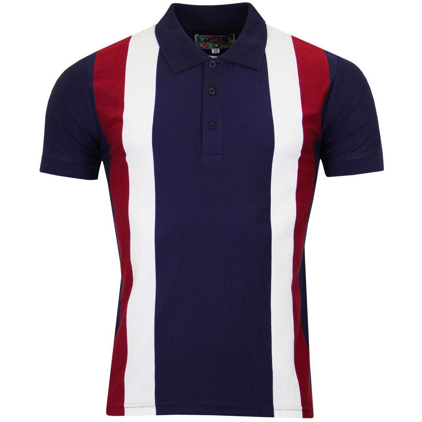 Madcap England Men's Retro Mod Stripe Panel Jersey Polo Shirt in Peacoat