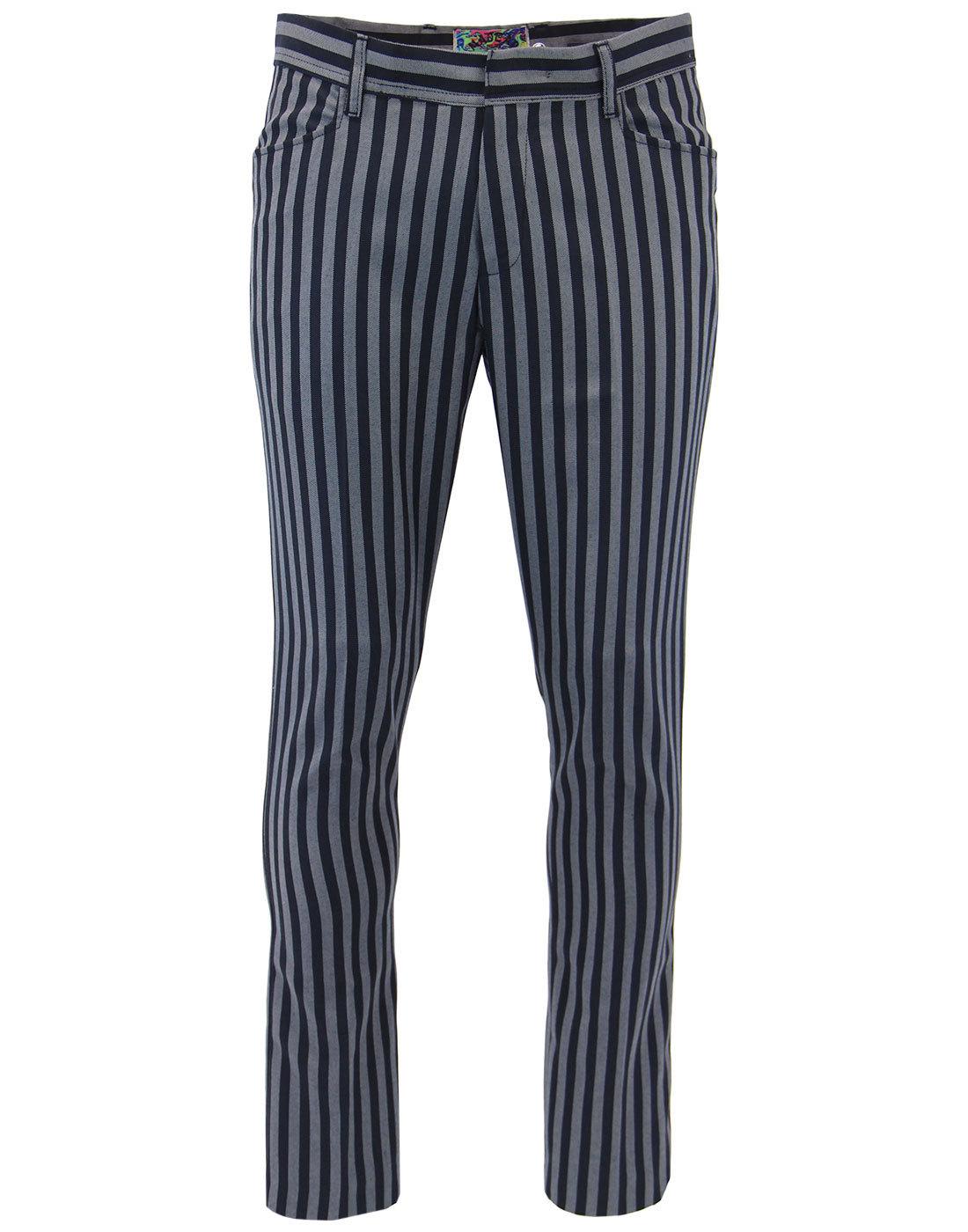 madcap england meadon 60s mod stripe trousers navy