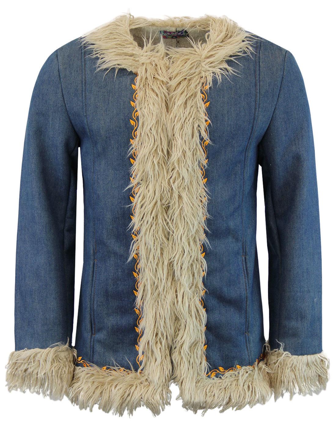 madcap england walrus retro 60s denim afghan coat