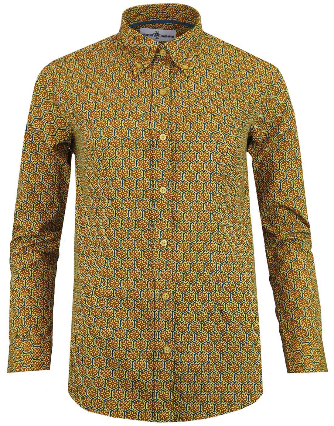 madcap england saffron floral hexagon shirt teal