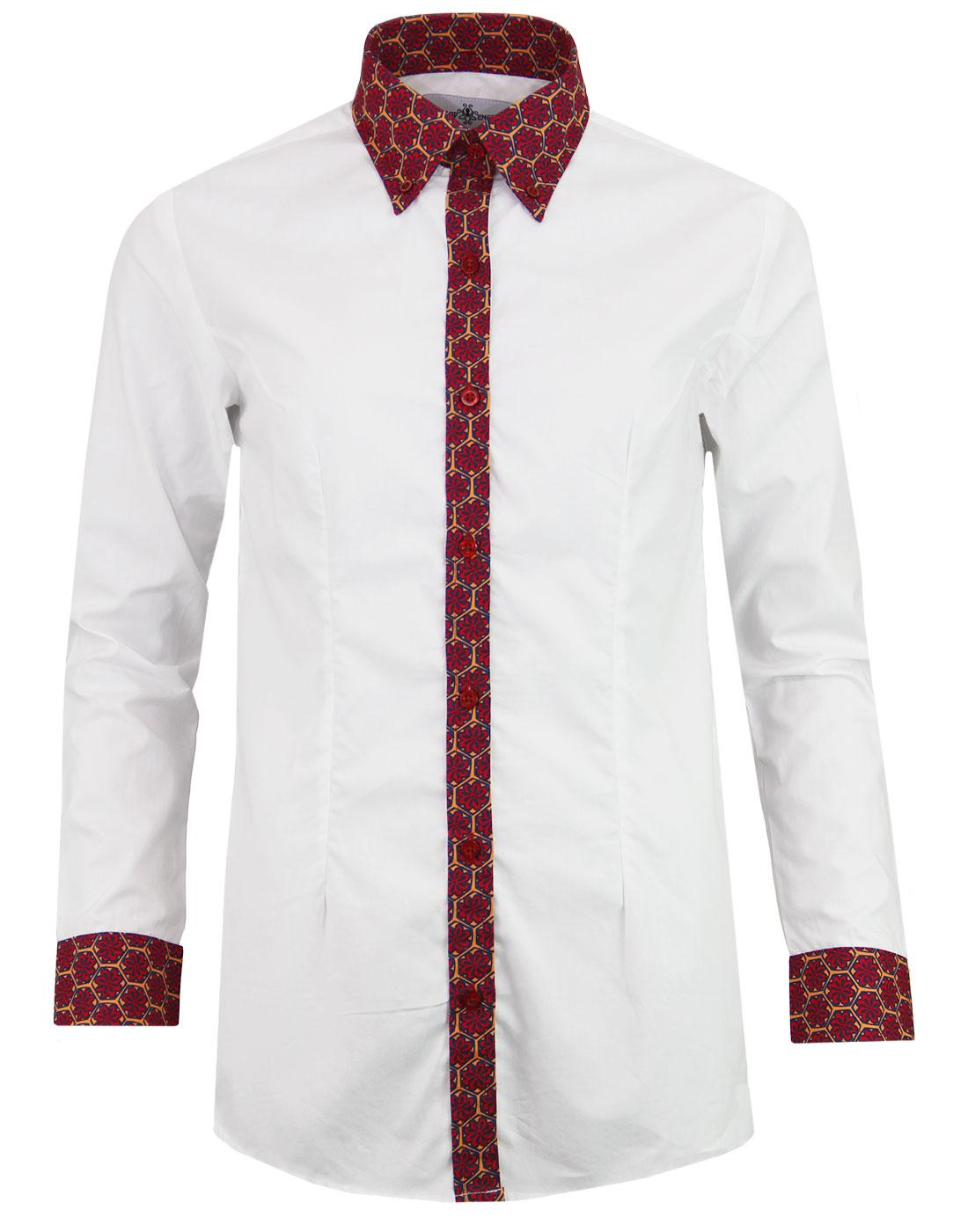 madcap england juniper mod floral trim shirt red