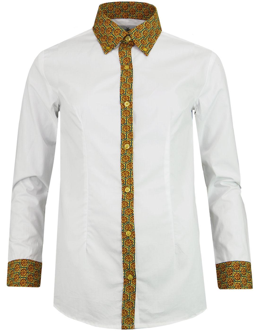 Juniper MADCAP ENGLAND Mod Floral Trim Shirt TEAL
