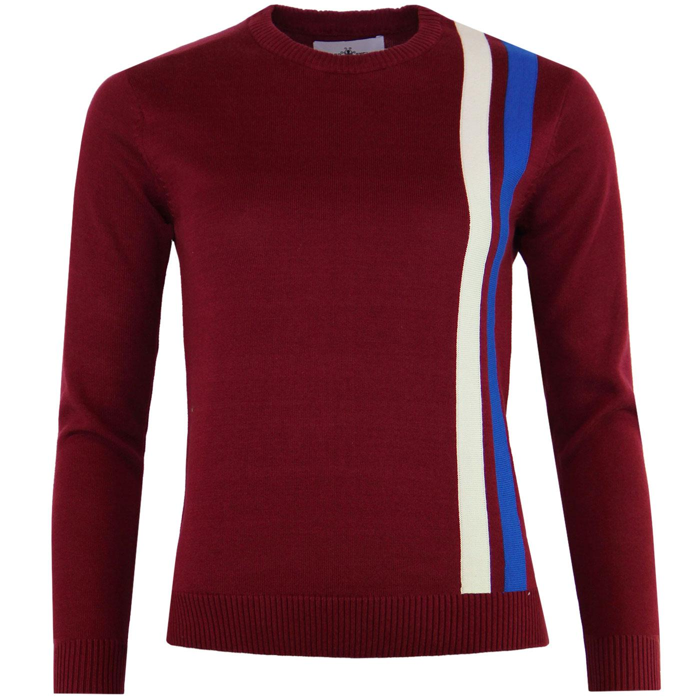 Madcap England Women's Retro Mod Racing Jumper in Zinfandel