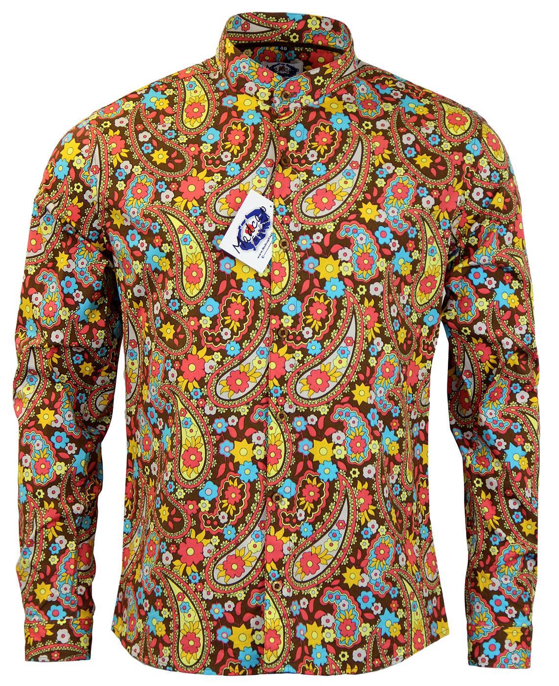 Madcap England Indra Paisley 60s Mod Grandad Collar Floral Shirt