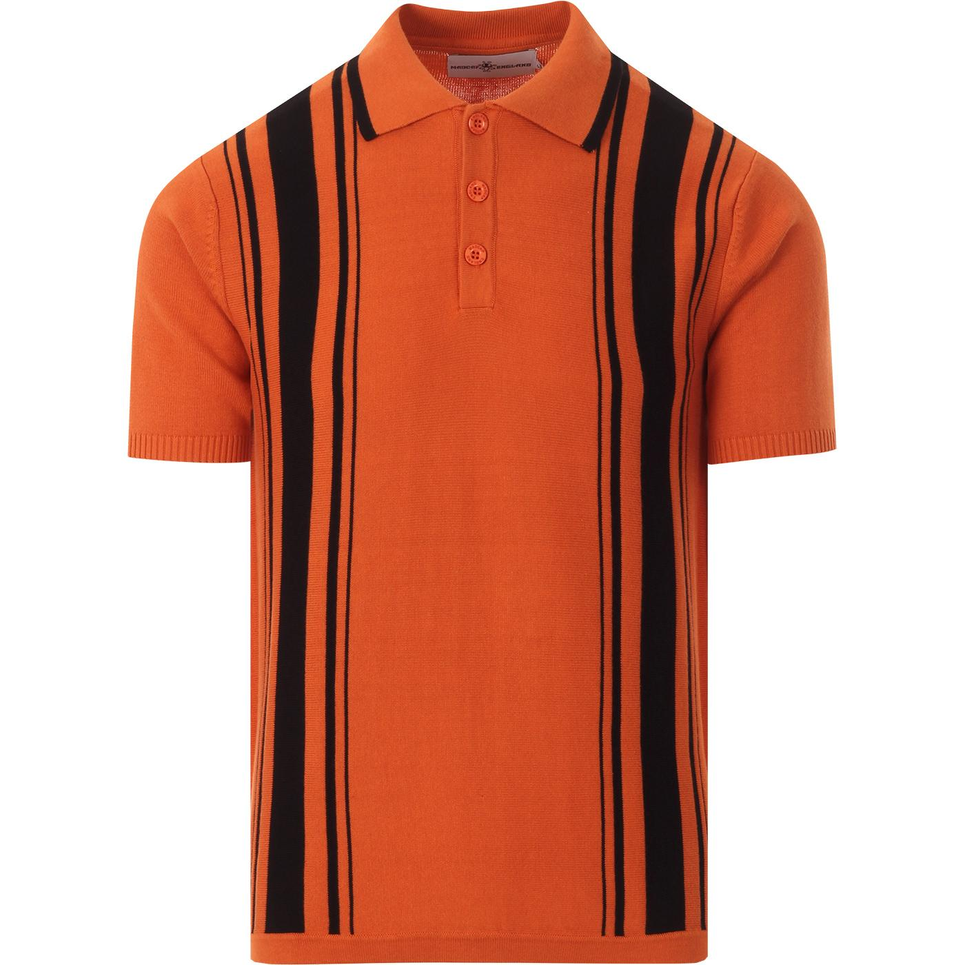 madcap england mens aftermath knitted polo tshirt rust orange