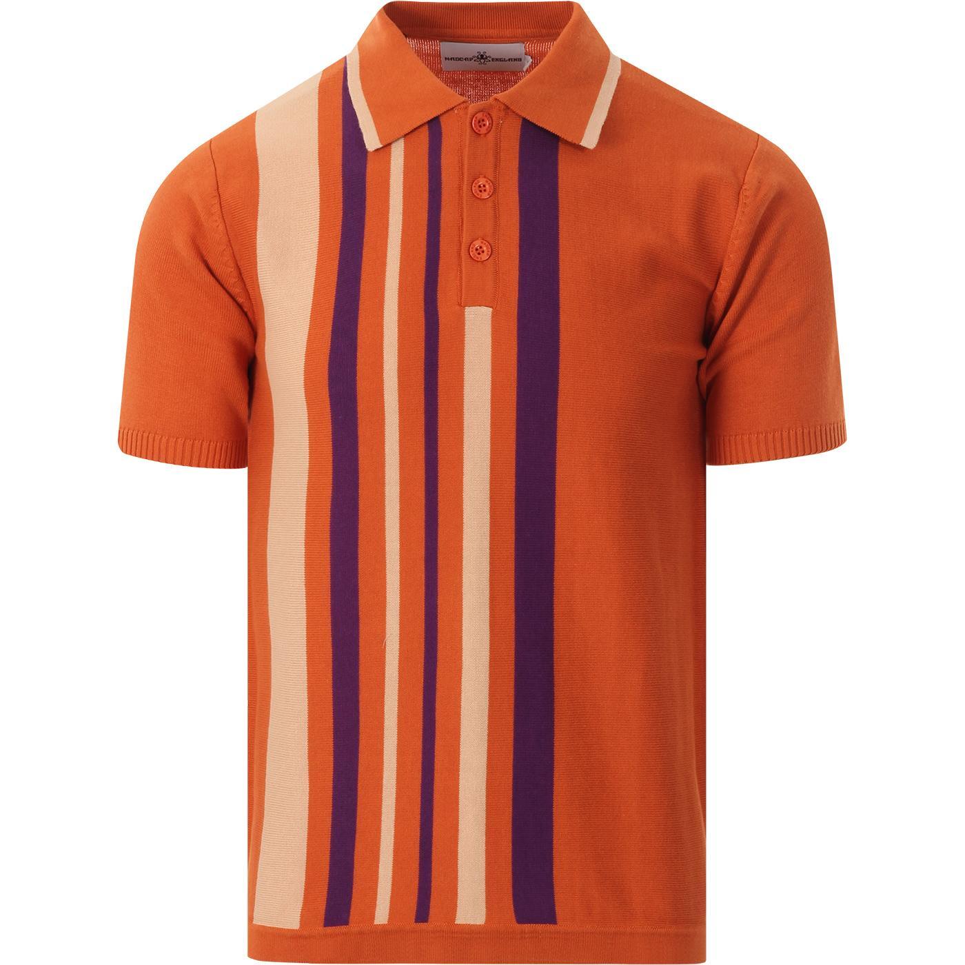 madcap england mens bauhaus side stripes knitted polo tshirt rust purple