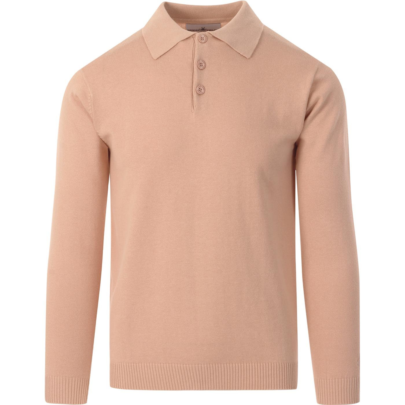 madcap england mens brando long sleeve knitted polo top toasted almond