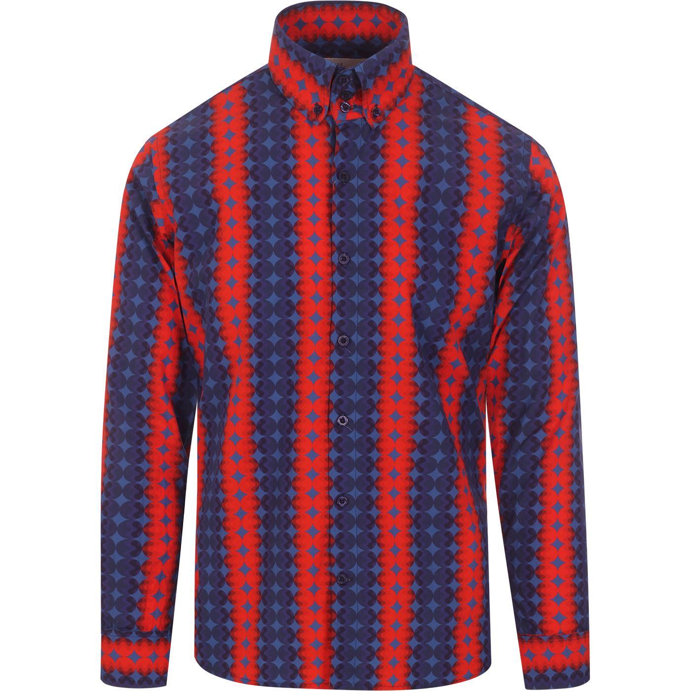 madcap england mens high collar bold dots pattern long sleeve shirt blue red