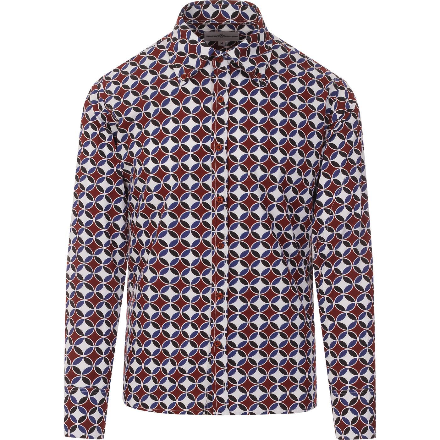 madcap england mens trip 60s circles print long sleeve shirt burgundy blue