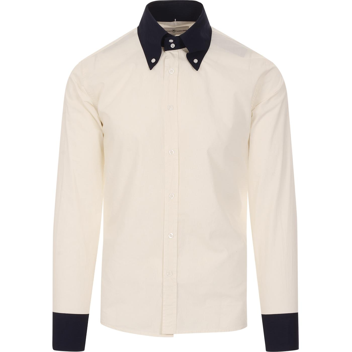 madcap england mens two tone contrast collar nad cuffs long sleeve shirt off white navy