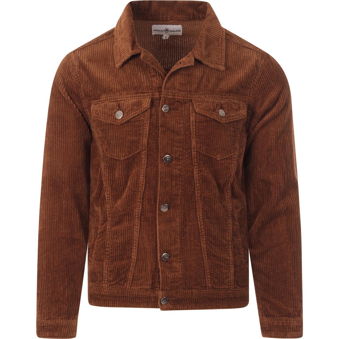 madcap england mens wale jumbo cord western trucker jacket toffee brown