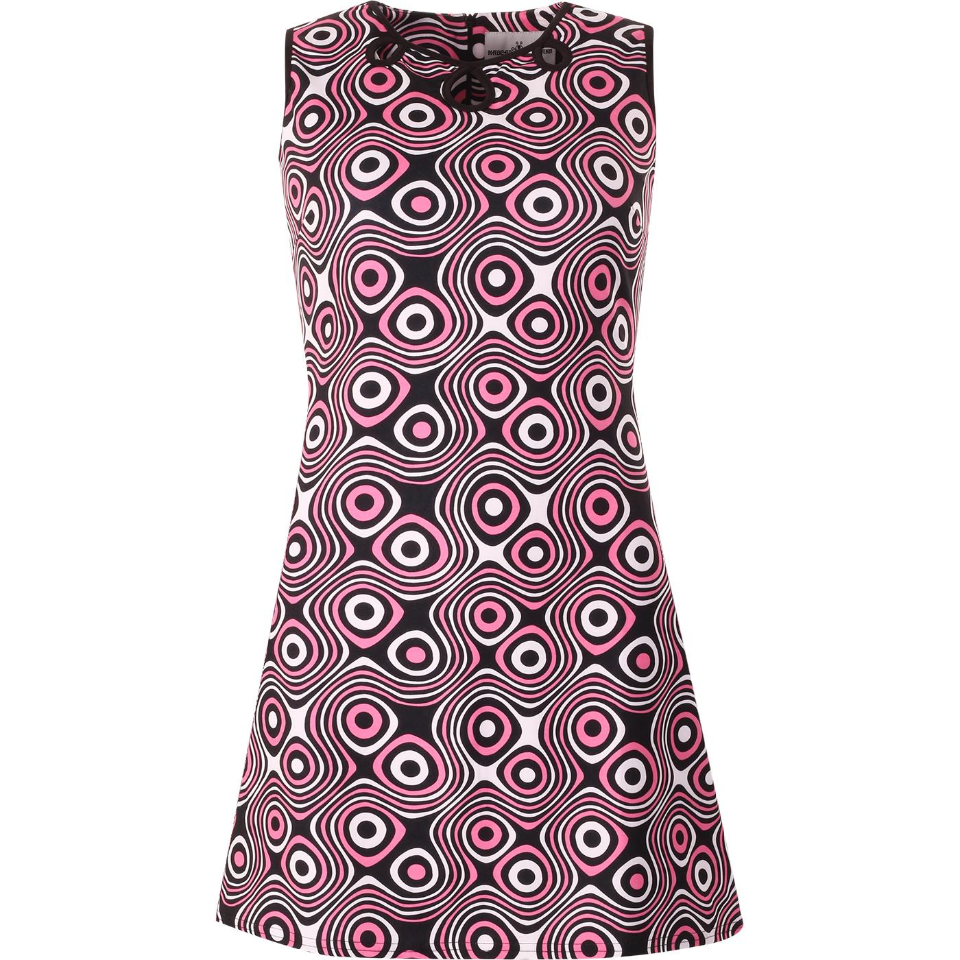 madcap england womens lazy daisy op art print collar mod dress black hot pink