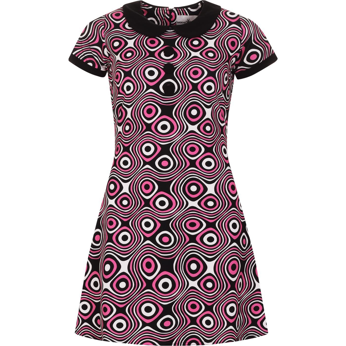 madcap england womens dollierocker op art pattern 60s mod dress black white hot pink