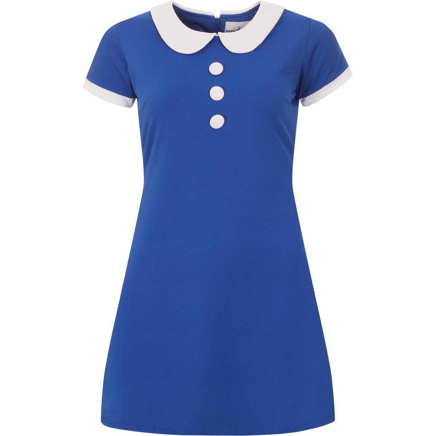 madcap england womens dollierocker 60s mod peter pan collar dress turkish sea blue white