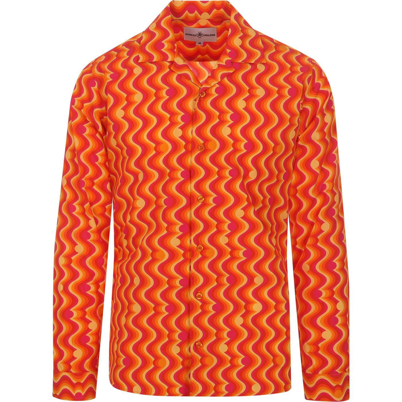 madcap england mens resort collar bold wave pattern long sleeve shirt pink orange yellow