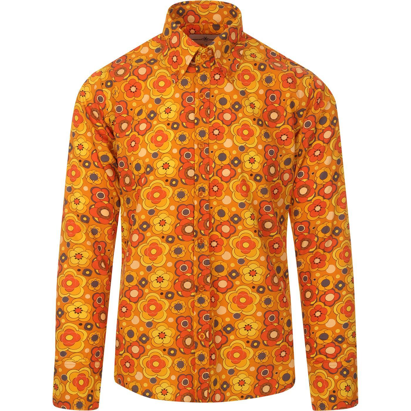 madcap england mens trip retro bold floral print long sleeve shirt yellow orange