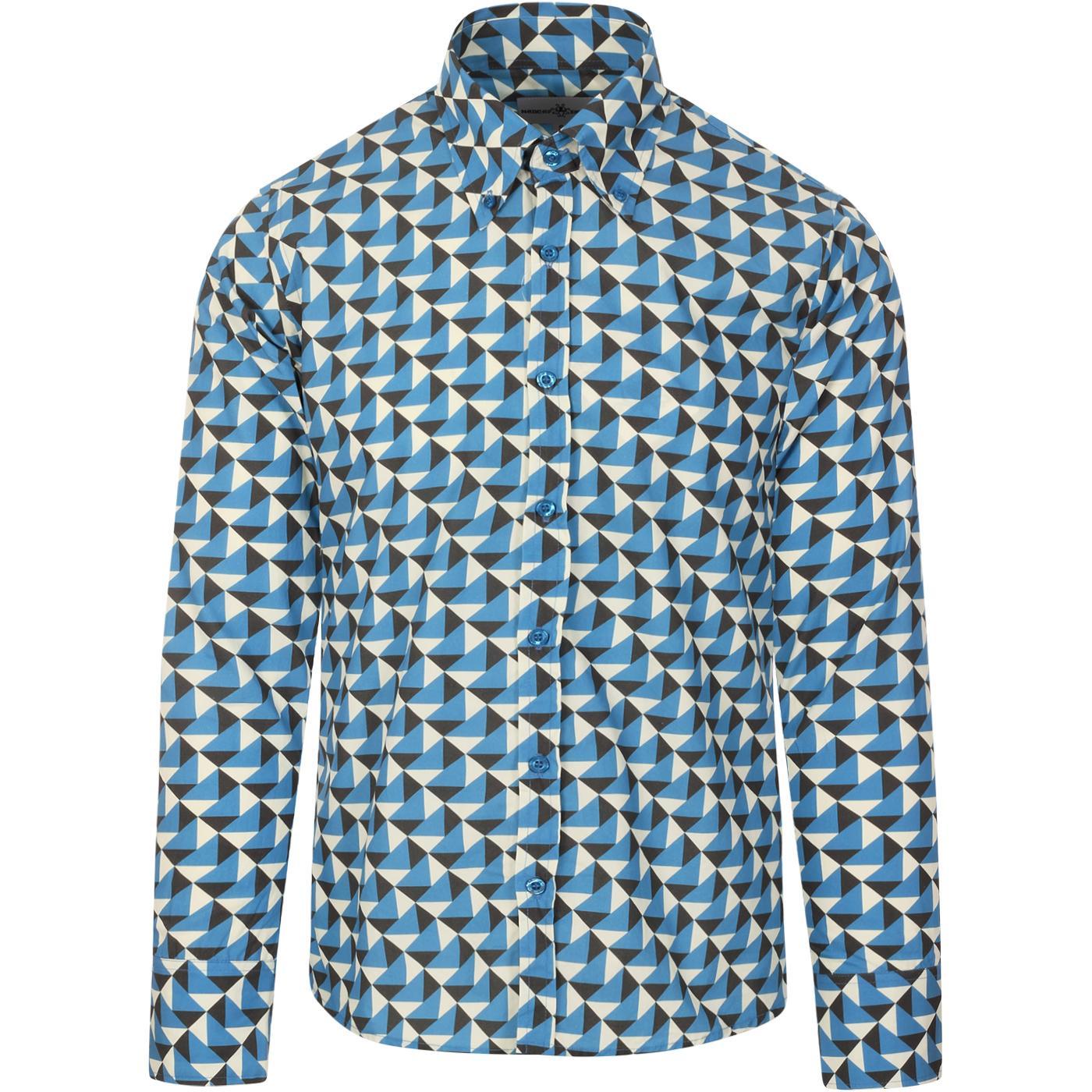 madcap england mens trip geo print long sleeve shirt blue black cream