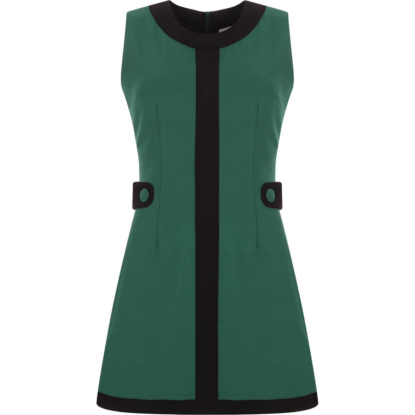 madcap england womens gogo 60s mod contrast side tabs mini dress teal green black